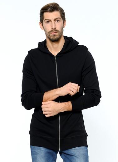 Grip Fermuarlı Kapüşonlu Sweatshirt Siyah